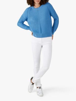 Pure Collection Cotton Crew Neck Sweater, Bluebird