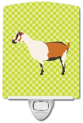 Caroline's Treasures Alpine Goat Green Ceramic Night Light