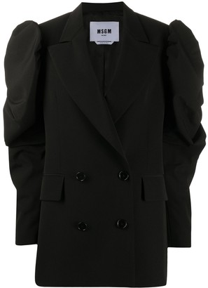 MSGM Oversized Ruched-Sleeve Blazer