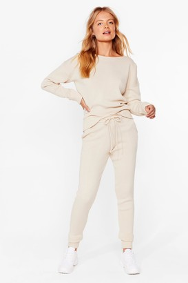 Nasty Gal Womens We're Knit Kidding Sweater and Joggers Set - Oatmeal