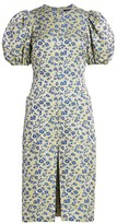 Rotate by Birger Christensen Katarina Floral Jacqaurd Puff-Sleeve Sheath Dress