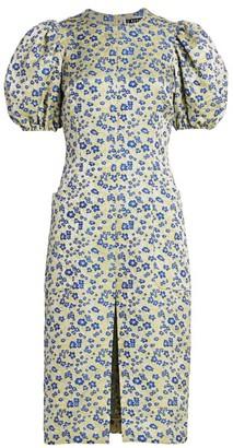 Rotate by Birger Christensen Katarina Floral Jacqaurd Puff-Sleeve Sheath Dress