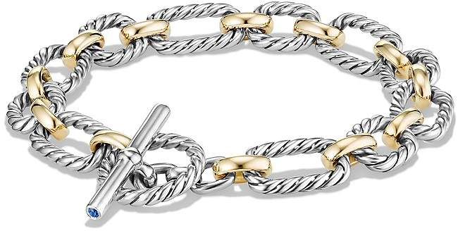 David Yurman Chain Cushion Link Bracelet with Blue Sapphires and 18K Gold