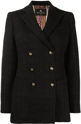 Etro Double Breasted Tweed Blazer
