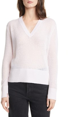 Allude Pointelle V-Neck Cashmere Sweater