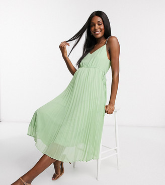 ASOS DESIGN Maternity pleated cami midi dress with drawstring waist in sage green