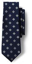 Lands' End Men's Long Silk Star Flower Neat Necktie-Mossy Bark Floral