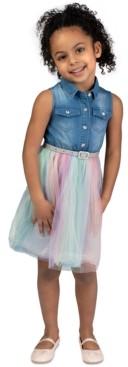 Bonnie Jean Toddler Girls Denim & Rainbow Tulle Belted Dress