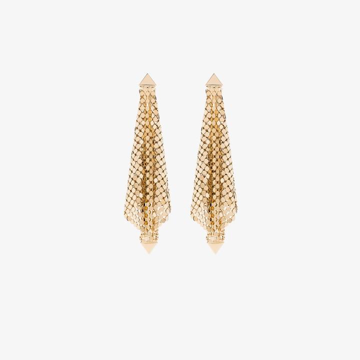 Paco Rabanne Gold tone draped chain mail earrings