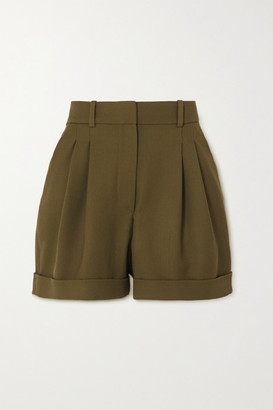 Racil City Pleated Wool-twill Shorts - Army green