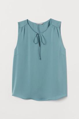 H&M H&M+ Tie-front Satin Blouse - Turquoise