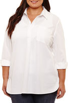 Liz Claiborne Long Sleeve Button Front Blouse-Plus