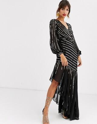Asos Design DESIGN starburst maxi dress-Black