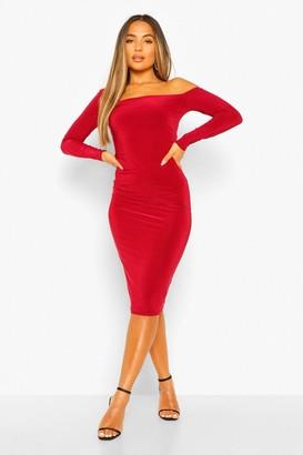 boohoo Petite One Shoulder Bodycon Midi Dress