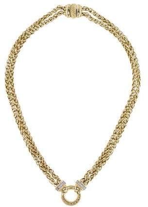 David Yurman 18K Diamond Double Wheat Chain Necklace