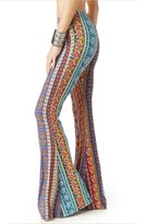 Chengjie Women's Boho Printed Stretch Bell Bottom Flare Palazzo Pants Trousers,XL