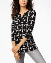 Charter Club Split-Neck 3/4-Sleeve Tunic, Created for Macy's