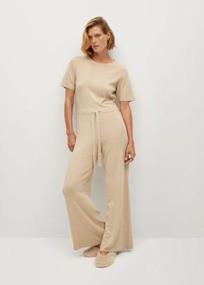 MANGO Long knit jumpsuit light/pastel grey - S - Women