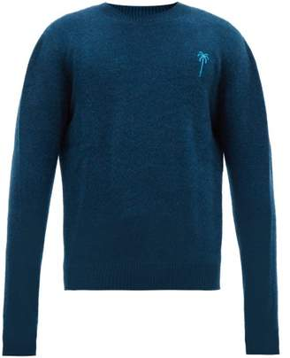 The Elder Statesman Palm Tree Embroidered Cashmere Sweater - Mens - Blue