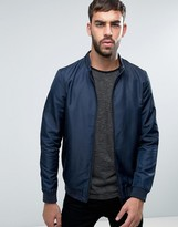Lindbergh Nylon Bomber Jacket in Navy