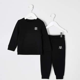 River Island Mini boys black RI sweatshirt outfit