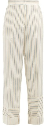 J.W.Anderson Patchwork-striped Wide-leg Trousers - Womens - White Stripe
