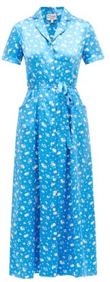 HVN Long Maria Zodiac-print Silk Dress - Blue Print