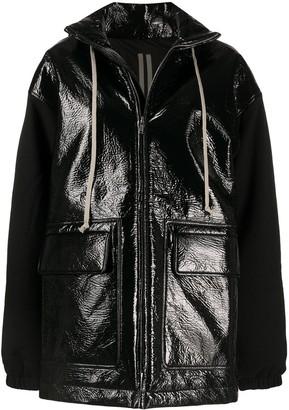 Rick Owens High-Shine Hooded Zip-Up Jacket