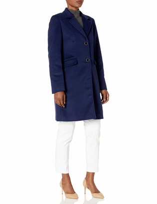 Calvin Klein Womens Button Front Single Breasted Wool Coat