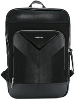Diesel logo print backpack - men - Cotton/Leather - One Size