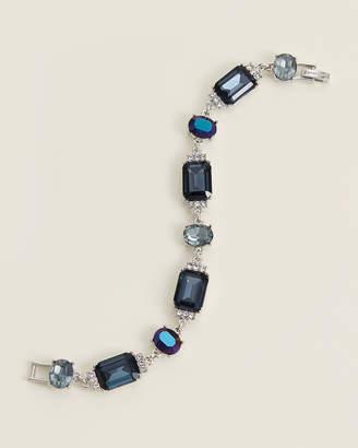 Givenchy Rhodium-Tone & Blue Flex Crystal Bracelet