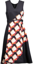Suno Pleated Printed Cotton-Blend Twill Midi Dress