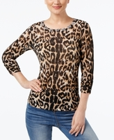 INC International Concepts Petite Animal-Print Ruched Sweater, Created for Macy's