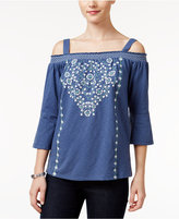 Style&Co. Style & Co Petite Embroidered Off-The-Shoulder Top, Only at Macy's