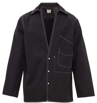 SASQUATCHfabrix. Contrast-stitched Wool-canvas Overshirt - Mens - Black