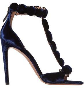 Alaia Bombe 110 Studded Velvet Sandals