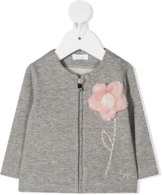 Il Gufo Embroidered Flower Zipped Jacket