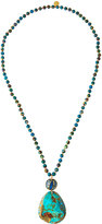 Devon Leigh Long Compressed Turquoise Beaded Pendant Necklace
