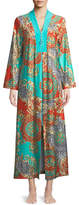 Diamond Tea Gown Graphic-Print Beaded Zip-Front Caftan