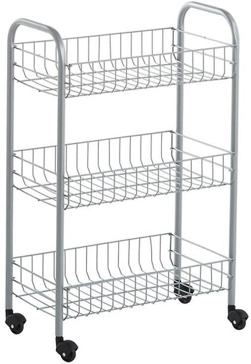 Container Store 3-Tier Siena Rolling Cart Silver