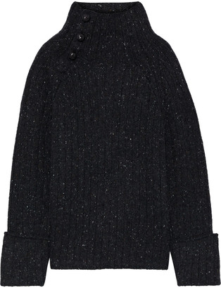 Rag & Bone Klark Button-detailed Ribbed Wool-blend Turtleneck Sweater
