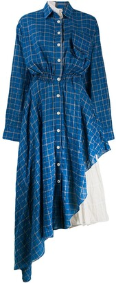 Natasha Zinko Check Asymmetric Shirt Dress