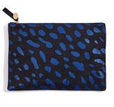 Clare Vivier Blue Jaguar Print Flat Clutch