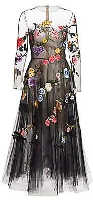 Oscar de la Renta Women's Garden Fantasy Sheer Cocktail Dress