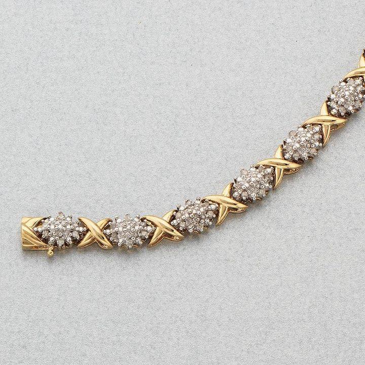10k Gold Two-Tone 1/2-Ct. T.w. Diamond X Bracelet