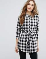 Warehouse Gingham Tie Front Shirt