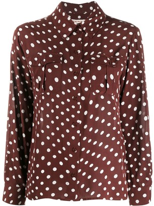 ALEXACHUNG Polka Dot Print Long-Sleeve Shirt