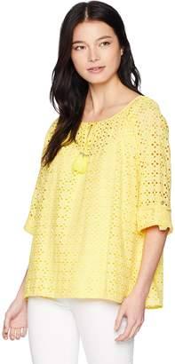 Ruby Rd. Women's Petite Lined Eyelet Peasant Blouse with Roll-Tab Sleeves