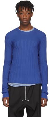 Rick Owens Blue Wool Fisherman Cropped Biker Sweater