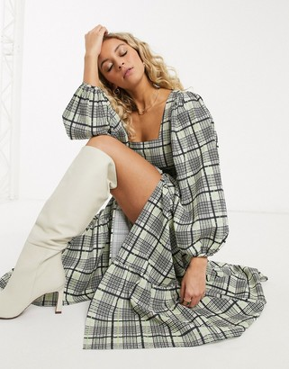 Topshop check tiered midi dress in green